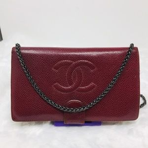 Authentic Preowned Chanel CoCo Burgundy Wallet